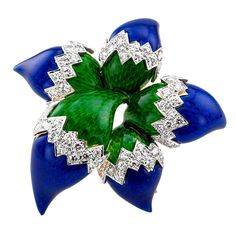 Unique Peacock Enamel Diamond Gold Flower Brooch | From a unique collection of vintage brooches at https://www.1stdibs.com/jewelry/brooches/brooches/ photo 1/4
