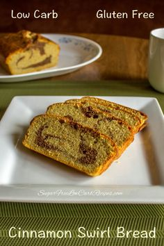 Enjoy this tasty #lowcarb cinnamon swirl bread for breakfast or snack. It's a sweet quick bread with a pound cake texture. #SugarFree and #GlutenFree.