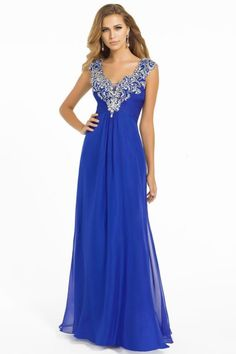 Royal Blue Floor-Length V-neck Chiffon Zipper A-line Dress DWD2859 -