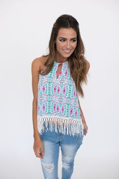 Aqua/Purple Printed Fringe Tank - Dottie Couture Boutique