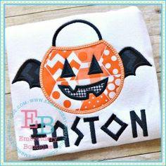 Bat Pumpkin Bucket Applique
