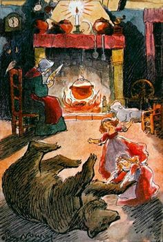 Credit: Illustration from 'Snow White and Rose Red' by the Brothers Grimm, 1935 (colour litho), Noury, Pierre (b.1894) / Private Collection ...