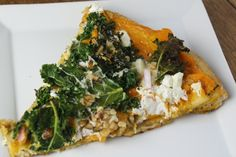 Dishing Up the Dirt (formerly A Farmer in the Dell)  Pizza with Butternut Squash puree, Kale and goat cheese