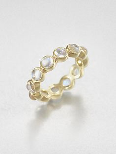 Temple St. Clair Blue Moonstone & 18K Gold Eternity Ring