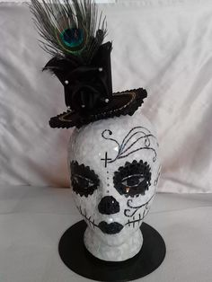 """Mrs. Peacock"" - My Mosaic Skull head on Styrofoam Wig Head."
