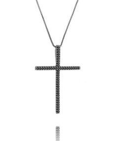 crucifixo rodio negro e zirconias negras semijoias