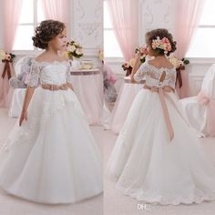 2017 New Cute Flower Girls Dresses For Wedding Off Shoulder Short Sleeve Lace With Bow Belt Princess First Communion Dress Child Party Gowns Dresses For Girl Flower Girl Dresses Online From Cinderella_shop, $49.08| Dhgate.Com