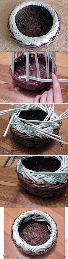 Загибка валиком. Плетение из газет от Olivka.