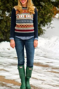 J,Crew fair isle sweater hunter boots gingham button up