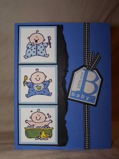 Bouncing Baby Boy by PSU Princess - Cards and Paper Crafts at Splitcoaststampers Baby Shower Cards, Baby Cards, Princess Cards, Baby Announcements, Welcome Baby, Pop Up Cards, Baby Birthday, Homemade Cards, Stampin Up Cards