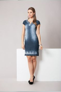 ff23fe1306 RJ11830 - Vestido jeans bordado - Bella Belle Moda Evangélica