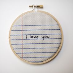 embroidery - notebook paper love