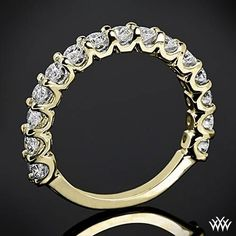 "0.75ctw 18k Yellow Gold ""Annette U-Prong"" 3/4 Diamant-Hochzeit Ring"