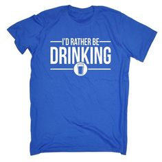 I/'D RATHER BE PLAYING RUGBY Mens Funny T Shirt Tee Top Birthday Present Gift
