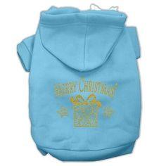 Golden Christmas Present Pet Hoodies Baby Blue Size Med (12)