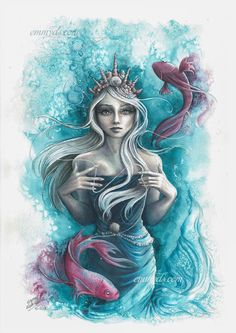 Pisces | watercolor and colored pencil by Emmy Dala Senta