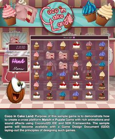 Coco in Cake Land! A Coconut2D sample game to demonstrate how to create cross-platform Match-n-Puzzle game with rich animations and sound effects, using Coconut2D IDE and SDK