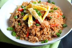 Nasi Goreng  A little different than the Nasi Goreng that we grew up with, but still delicious looking. Great with Krupuk (shrimp crackers)!