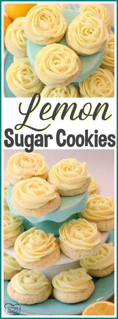 Lemon Sugar Cookies made with fresh lemon juice and zest in a soft sugar cookie dough and topped with a bright lemon buttercream frosting. Lemon Sugar Cookies are piped with a super simple rosette so they taste incredible and they're pretty too! No rolling and chilling necessary- just scoop, bake, cool and frost. Easy #Lemon Sugar #Cookie recipe from Butter With A Side of Bread with the most amazing LEMON #BUTTERCREAM #frosting ever! #cookies
