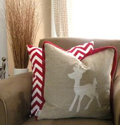 Christmas pillow... Obsessed with reindeer this season!