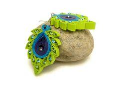 Peacock earrings - Quilling jewelry - Peacock jewelry - Paper quilling earrings - Unusual earrings - Original earrings - Multiple colors