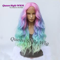 Mermaid Pastel Rainbow Hair Wig Synthetic Rainbow Color Pink Purple/ Blue/ Fluorescent Green Ombre Hair Lace Front Wig Mermaid Cosplay Wigs Synthetic Hair Wigs And Hairpieces From &Price; Pastel Ombre, Pastel Rainbow Hair, Pastel Wig, Rainbow Wig, Ombre Hair Color, Blonde Ombre, Purple Hair, Pink Purple, Colorful Hair