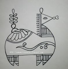 Folk Embroidery Patterns Here is one more pattern. This is a folk motif. It looks like a horse-or is it a camel? But I found it very beautiful. Madhubani Art, Madhubani Painting, Worli Painting, Fabric Painting, Embroidery Motifs, Embroidery Designs, Motifs Animal, Indian Art Paintings, Indian Folk Art