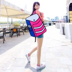 3D Jump Style 2D Drawing From Cartoon Paper Bag