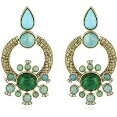 Roberto Cavalli Earrings Bohemian Gold and Turquoise Clip-on Earrings ($515) ❤ liked on Polyvore featuring jewelry, earrings, accessories, orecchini, boho, clip earrings, gold tear drop earrings, teardrop earrings, bohemian earrings and yellow gold earrings