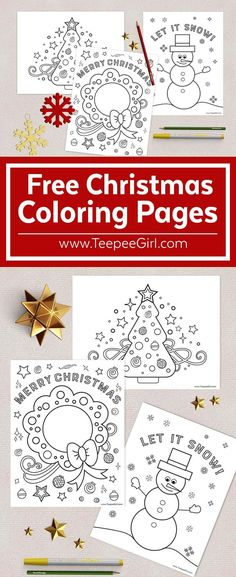 Free Christmas Coloring Pages! Keep kids busy during this holiday season with these 3 FREE Christmas Coloring pages! Great for kids and adults. www.TeepeeGirl.com #ChristmasColoringPages #FreeColoringPages #ChristmasKidActivity