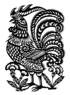 Il gallo colored woodprint, century Italy Animalarium's First Fall Folk Festival takes flight with an international feathered extrava. Chinese Paper Cutting, Paper Cutting Templates, Laser Art, Chicken Art, Paper Birds, Paper Animals, Galo, Quilling Patterns, Paper Quilling