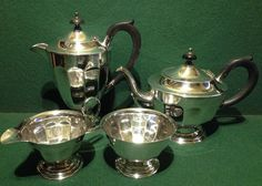 Vintage Sheffield Silver Plate Art Deco 4 Piece Panelled Tea Set With Coffee Pot