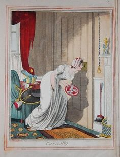 A pretty lady's maid stoops in profile to the right to gaze with prurient eagerness through a key-hole. She holds a salver, letting two jelly-glasses slide off it. A lady's bonnet and gloves and a cocked hat and sword, carelessly laid down, show the object of her curiosity. She wears a graceful white gown and a lace cap over her curled hair.  April 1817  Etching with hand-colouring