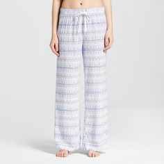 Women's Plus Size Pajama Pant Printed Blue Multi Print