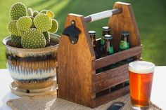 Ditch the cardboard carrier and customize your own wood beer caddy to tow your brews in style.