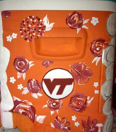 Virginia Tech inspired custom #painted #cooler #TSM #VT #Hokies college Order your own today! #HaylilyDesigns
