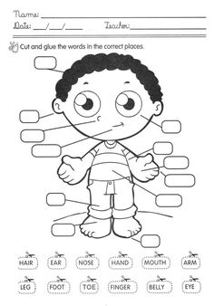 Parts of the Body Activities. English Activities For Kids, Learning English For Kids, English Lessons For Kids, English Worksheets For Kids, Kids English, English Study, English Class, Teaching English, Learn English