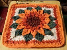 """Ravelry: Berniece's Block A Month CAL 2012: August 12"""" Filler #crochetflowers"""