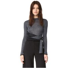 3.1 Phillip Lim Long Sleeve Metallic Tie Pullover (570 CAD) ❤ liked on Polyvore featuring tops, sweaters, cut out sweater, thick sweaters, pullover sweaters, tie top and metallic sweaters