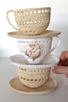 CREAM Crochet Tea Cup Sculpture Art Handmade by creativecarmelina, $20.00