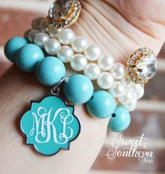Monogram Bead Bracelet Turquoise by SweetSouthernThing on Etsy