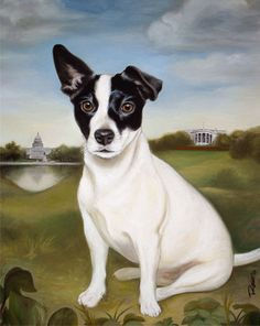 Friend's portrait of her adorable Jack Russell.  Thinking of immortalizing Meatball.