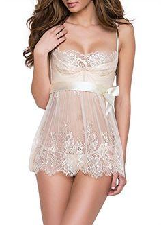 570dbb7c77 Dlsave Women s Sexy Bridal Lingerie White Lace Valentines Nightwear  Sleepwear Underwear For Women - Sexy GXLingerie For Latest Lingerie