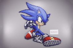 Perler and Artkal fuse bead Sonic the Hedgehog by Manic Made Geekery