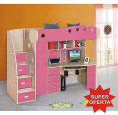 Dormitor copii multifunctional Kring Kul, pat supraetajat, dulapuri, birou roz fetite Bunk Beds, Kids Bedroom, House, Furniture, Home Decor, Bedrooms, Room Ideas, Shopping, Home Decor Ideas