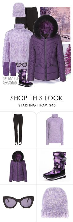 """""""The Purple Puffer"""" by patricia-dimmick ❤ liked on Polyvore featuring Moncler, Carven, Karen Walker, Ganni, Pistil, wintercoat and puffercoats"""