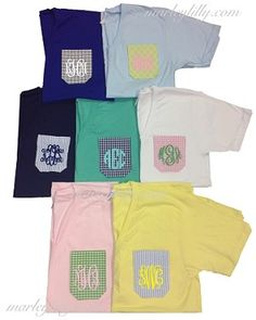 what is your favorite color combo? Monogrammed Pattern Pocket T-Shirt marley lilly