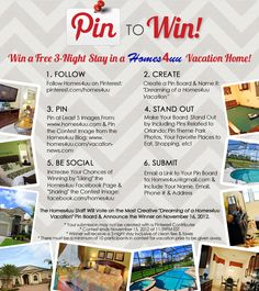 Pin to WIN a FREE Orlando Vacation! Just follow the directions to create your board. #orlandovacation