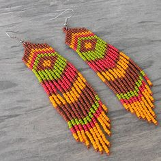 Long Native American Style Seed Bead Earrings in by Anabel27shop