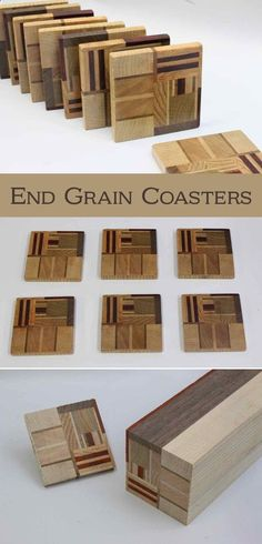 Wood Profits - These are made in much the same way you would make end-grain cutting boards. However, one key difference is that you arrange the pieces in a purposely random arrangement, and not in a nice even regular layout. #EndGrain #WoodenCoasters #woodworking - Discover How You Can Start A Woodworking Business From Home Easily in 7 Days With NO Capital Needed!